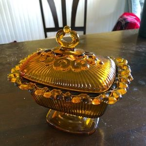 Vintage Amber Indiana Glass Candy Dish with Lid